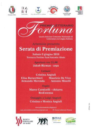 """Bari: IV edizione del premio letterario """"Fortuna"""" al Fortino Sant'Antonio"""