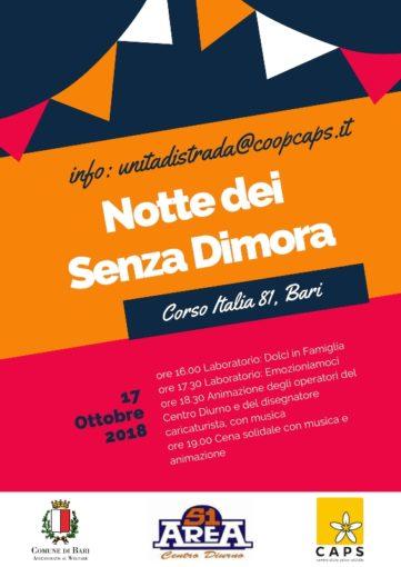 """Bari: giornata mondiale contro le povertà, il programma nel Centro Diurno """"Area 51"""""""