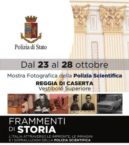 """Caserta: alla Reggia mostra fotografica della Polizia Scientifica """"Frammenti di storia"""""""