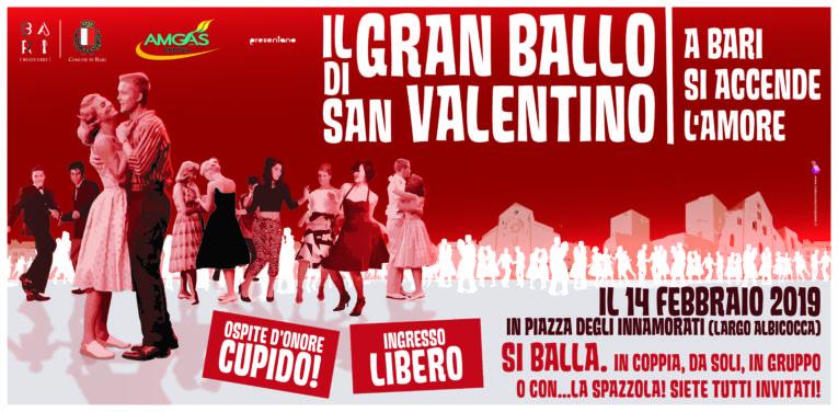 """Bari: il 14 febbraio si festeggia in Largo Albicocca con il """"Gran Ballo di San Valentino"""""""