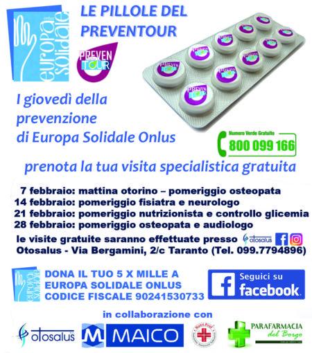 """Taranto: visite specialistiche gratuite nei giovedì di Febbraio grazie alle """"Pillole del Preventour""""."""