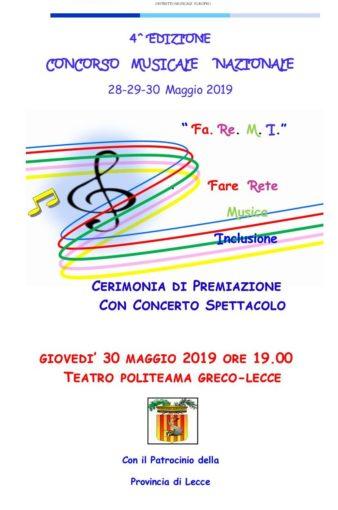 Lecce: concorso musicale nazionale Fa.Re.M.I.