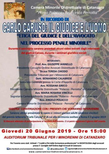 """Seminario a Catanzaro su """"Etica del giudice e dell'avvocato nel processo penale minorile"""", in ricordo di Carlo Caruso"""