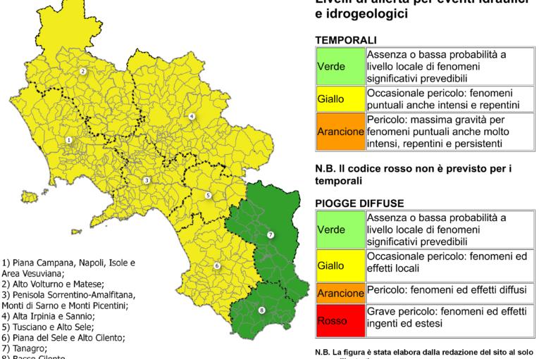 La Campania interessata da allerta meteo gialla per tutta la giornata