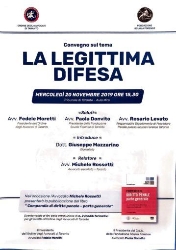 A Taranto un convegno sulla legittima difesa