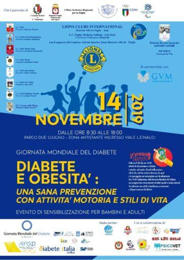 """Bari: giornata di sensibilizzazione per bambini e adulti su """"Diabete e obesità"""""""