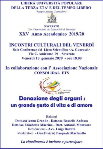 La donazione degli organi: è il tema di un incontro promosso a Soverato dalla Libera Università Popolare e dalla Consolidal