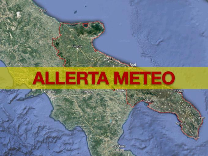 Allerta meteo in Puglia: la situazione nelle prossime 24-30 ore