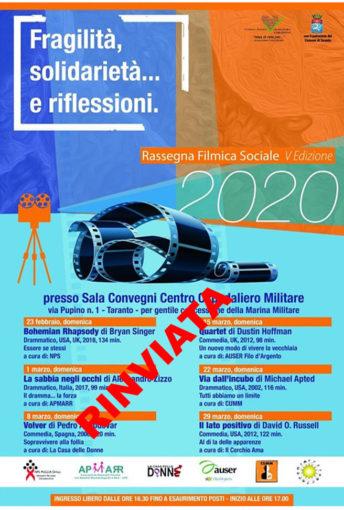 Taranto: Rinviata la rassegna filmica sociale del volontariato