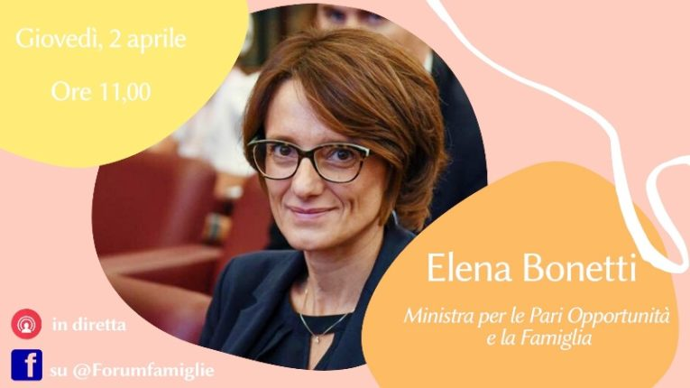 La Ministra per le Pari opportunità e la famiglia, Elena Bonetti in diretta Facebook