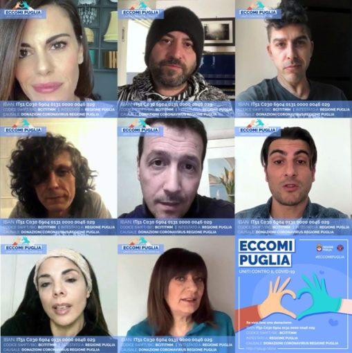 """""""Eccomi Puglia. Uniti contro il Covid19"""", la campagna di donazioni con tanti testimonial di eccezione"""