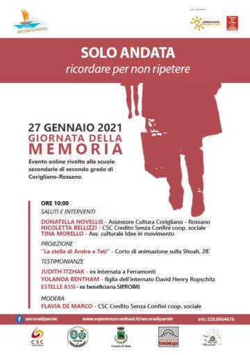 Giornata della memoria: evento online rivolto alle scuole secondarie di secondo grado di Corigliano- Rossano, mercoledì 27 gennaio ore 10:00