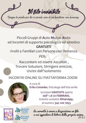 Associazione RaGi: nuovo  servizio gratuito per le famiglie con i propri cari affetti da malattia di Alzheimer o altre forme di demenze