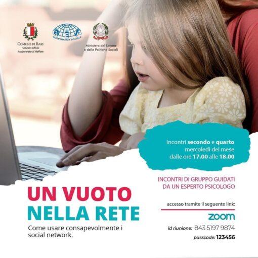 """Bari: parte """"Un vuoto nella rete"""", percorso formativo per minori e famiglie per accrescere la consapevolezza sull'utilizzo dei social"""