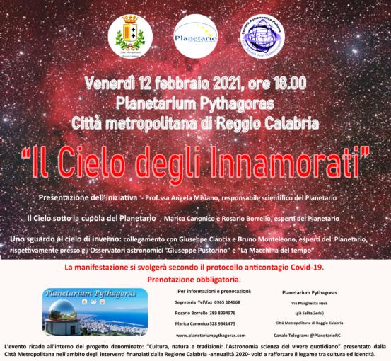 """Reggio Calabria: venerdì 12 febbraio San Valentino anticipato al Planetario Pythagoras con """"Il Cielo degli Innamorati"""""""